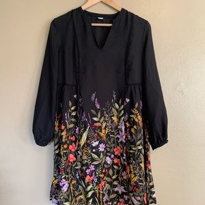 Old Navy | Black Floral Border Dress | Small S